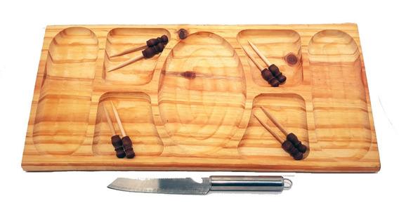 Set Combo Tabla Para Picada Copetinera De Madera 40x25 Cm + 8 Pinches + Cuchillo