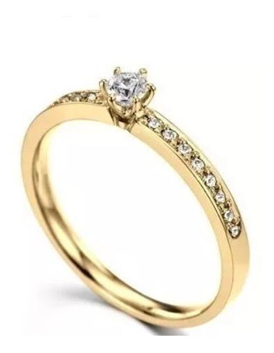 Anel De Ouro 18k Solitário Noivado C/ Diamante De 10 Pt