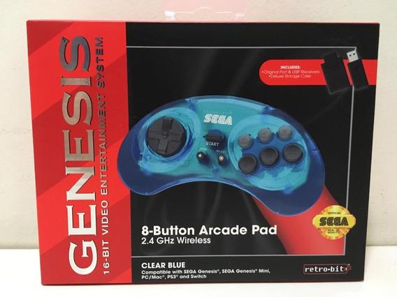 Controle Retro-bit Sega Genesis 2.4 Ghz Wireless Clear Blue