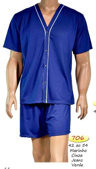 Pijama Masculino Verão Malha Com Botão Formosa 706 Até 48