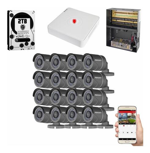 Kit Cctv Circuito Cerrado 16 Camaras Vigilancia Epcom Bh 2tb