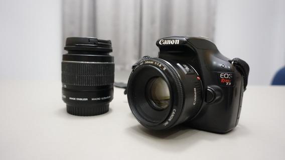 Canon T3 + Lente 50mm + Lente 18-55