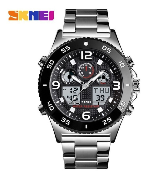 Relógio Masculino Digital Aço Inoxidável Pulso Prova Dagua