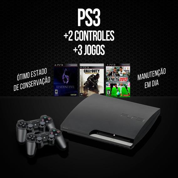 Ps3+2 Controles+3jogos