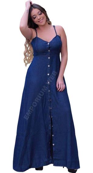 Vestido Jeans Longo Botões Moda Plus Size 46 48 50 G1 G2 G3