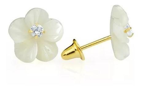 Brincos De Ouro 18k Flor Madrepérola Com Zircônia