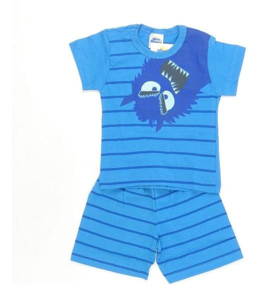 Pijama Monster Azul Bicho Bagunça Pepila