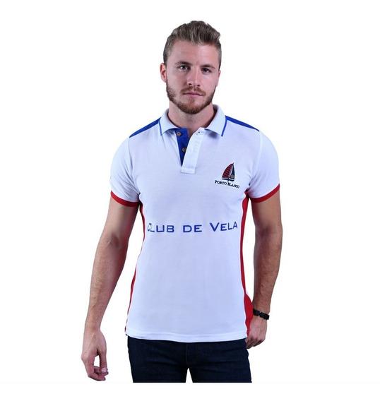 Camisa Polo Porto Blanco Algodon Hombre Blanca Vela Pl-627