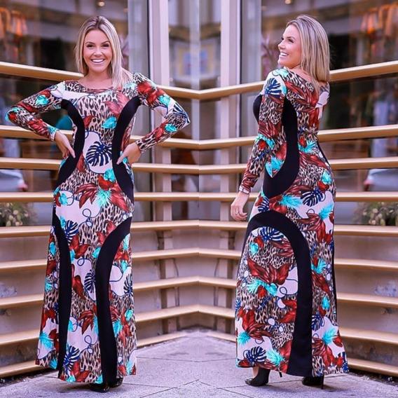 Vestido Longo Recorte Emagrece Borboleta