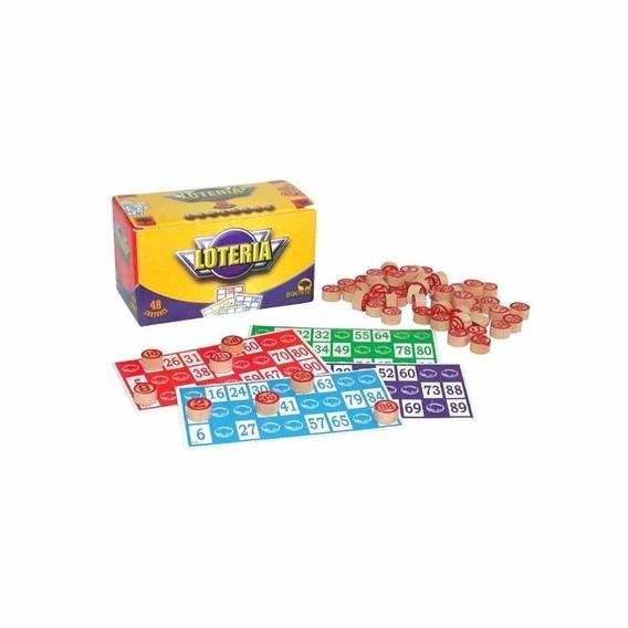 Juego Lotería Familiar Bisonte 48 Cartones Fichas Madera