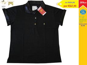 Golf Play Camisa Polo Feminina Cor Preta Com Dourado
