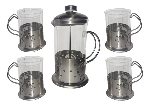 Set Cafetera Embolo Vidrio Acero Inoxidable Regalo 6 Ctas