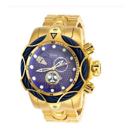 Relógio Masculino Dourado Temeite Luxo Original Quartzo