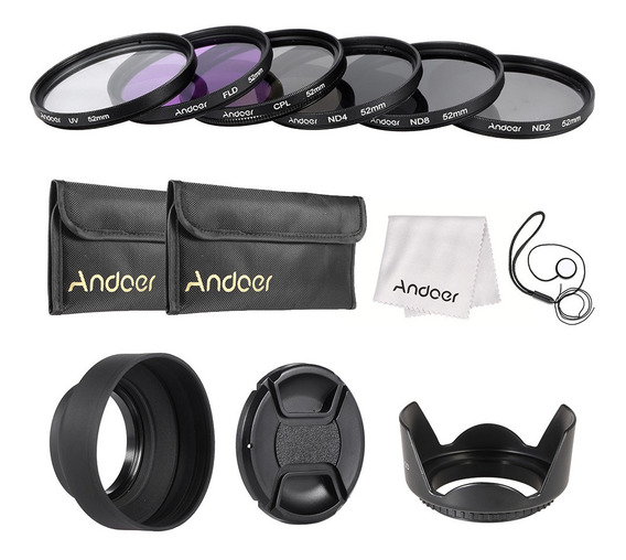 Andoer 52mm Kit Filtro De Lente Uv+cpl+fld+nd (nd2 Nd4 Nd8)