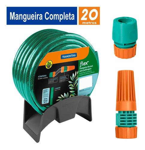 Imagem 1 de 9 de Mangueira 20 M Tramontina + Engate Esguicho E Suporte Mural