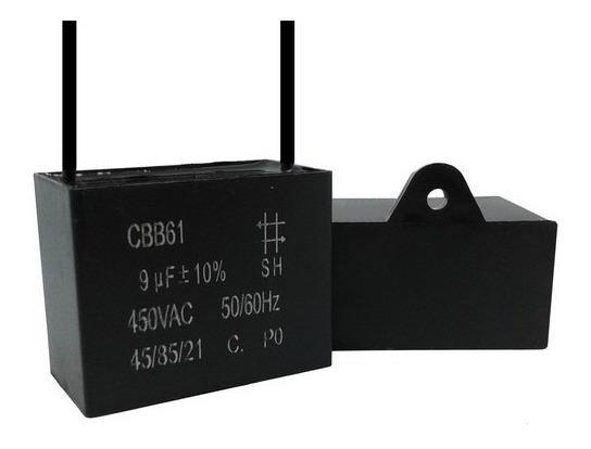 2 Unids Capacitor Partida 9uf X 450vac Fio Cbb61 40/85/21