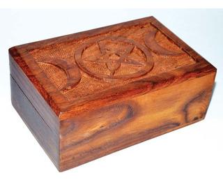 Caja De Madera Con Pentagrama Tres Lunas