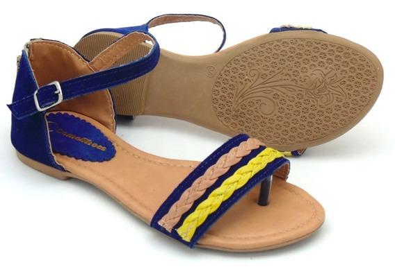 Rasteirinha Sandália Casual De Dedo Feminina Azul E Amarela