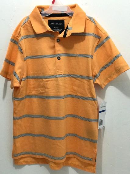 Calvin Klein Jeans Camisa Tipo Polo, De Niño, Talla Xl(7x)