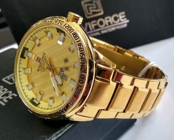 Relógio Naviforce 9090 Luxo Aço Inoxidável