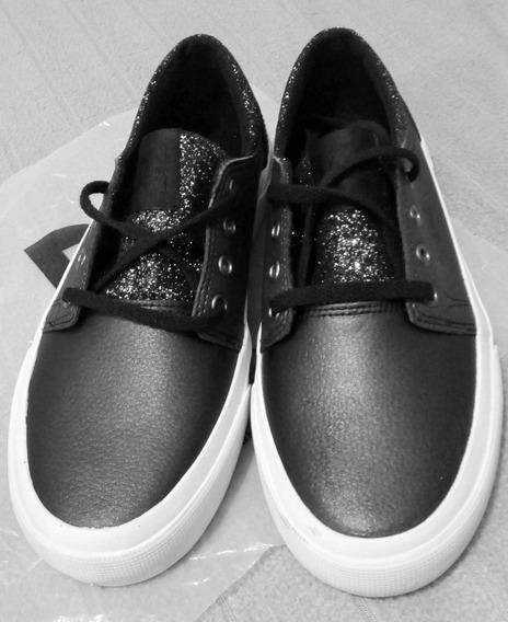 Zapatillas Dc Trase Se Glitter - Talle 34,5 Kids - Cuero