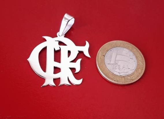 Pingente Crf Flamengo Com 3cm Em Prata.