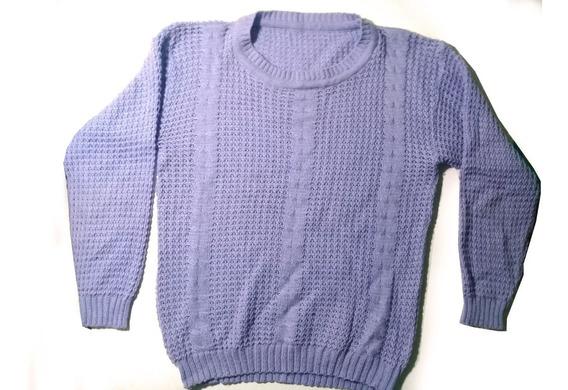 Sweater Punto Grande De Lana Lavanda/lila,t.l