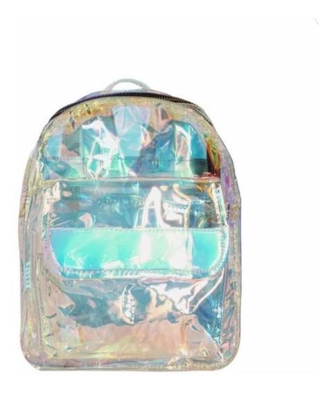 Mochila Jardin Holograma Pvc Transparente Cristal