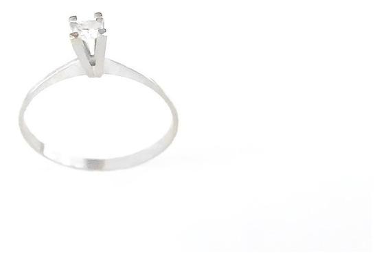 Anel Solitário Em Ouro Branco 18k 750 C/ 3 Pts De Diamantes