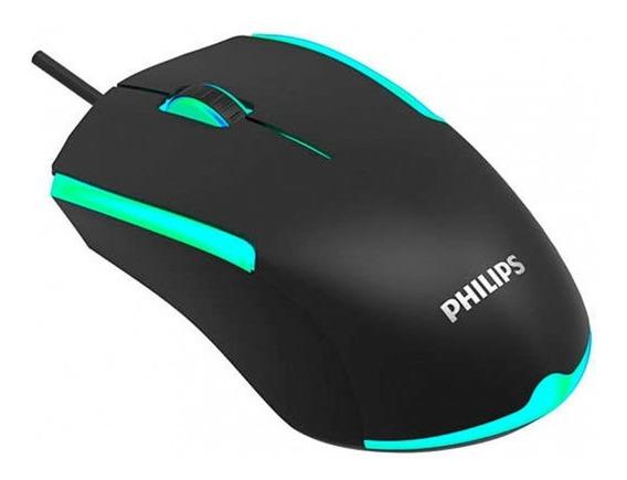 Mouse Com Fio Usb 1200dpi 125hz Led Philips Spk9314