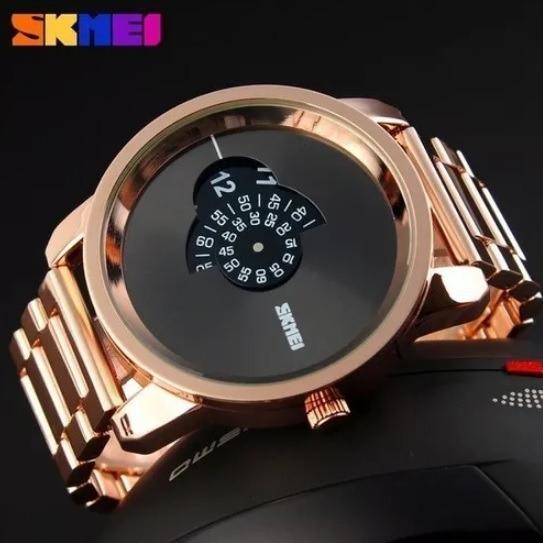 Relógio Masculino Skmei Gold Caixa Grande + Brinde!