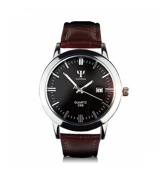 Relógio Yazole Japonês Importado Em Couro Barato Com Caixa