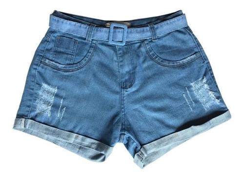 Imagem 1 de 6 de Short Feminino Jeans Curto C Lycra Plus Size  Barra Dobrada