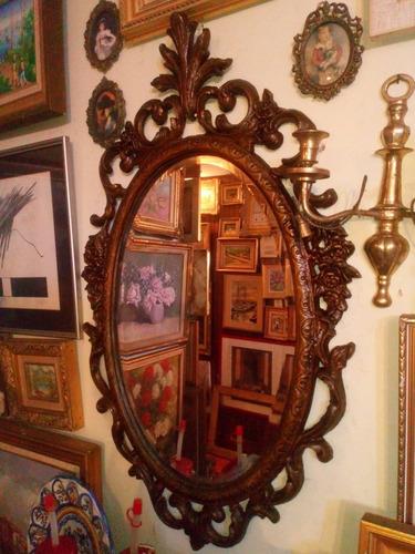 Espejo Antiguo Marco Color Bronce De Estilo Bonito Diseño