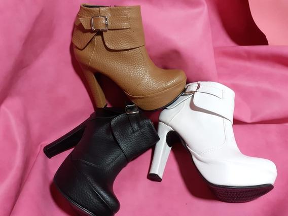 Zapatos Botas Botineta Plataforma Liviana Con Hebilla