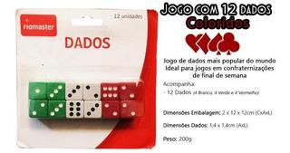Kit Jogo De Dados Com 12 Peças Colorido Riomaster 7740