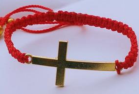 Pulsera Cruz Moda Tejida Caballero Roja Reforzada