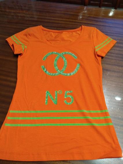 Remera Naranja Con Estampa Ch Nro 5 Talle Small