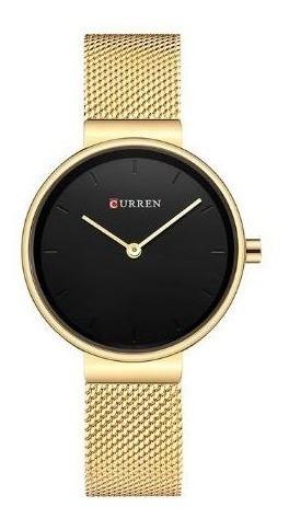 Relógio Feminino Redondo Pulseira Aço 3atm - Preto Dourado
