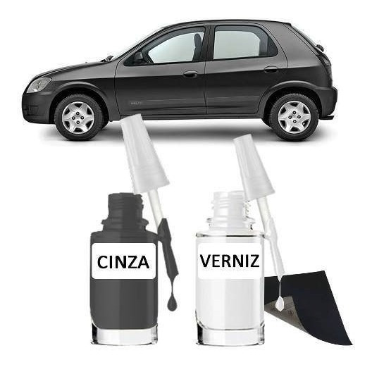 Tinta Tira Risco Automotivo Chevrolet Celta Cor Cinza Mond