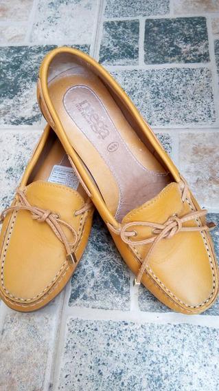 Oferta Zapatos Mocasin Mega De Cuero, Talla 38