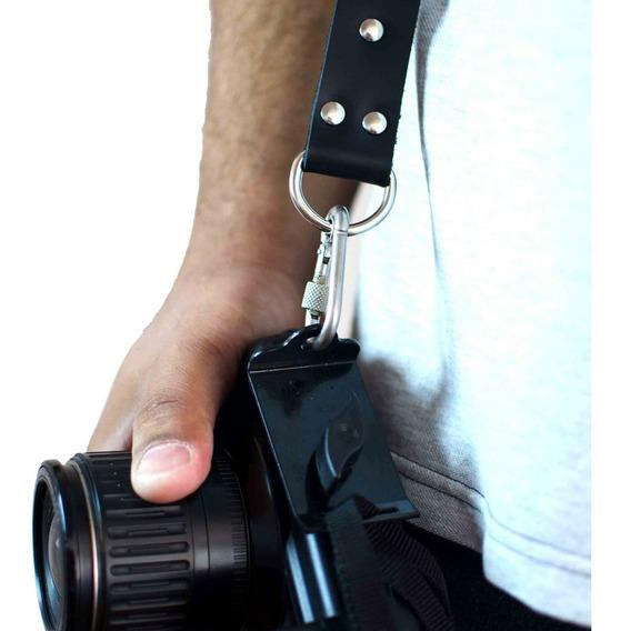 Alça Fotográfica Em Couro Black Para 2 Câmeras