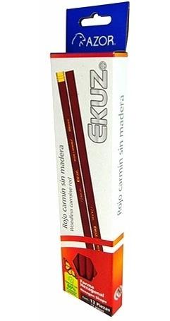 Lapiz Checador Rojo Carmin Exagonal Cajita C/12 Ecologico