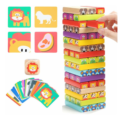 Imagen 1 de 7 de  Colored Wooden Blocks Stacking Board Games For Kids Ag...