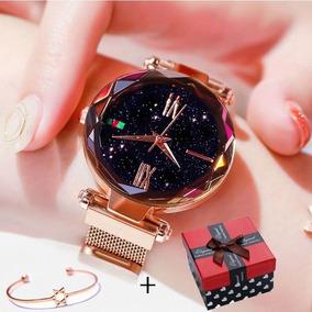 Kit Relógio Céu Estrelado Diamante Luxo + Pulseira