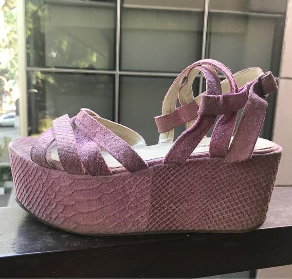 Sandalias Plataforma Pepe Cantero Gamuza Cuero Lila Mujer 38