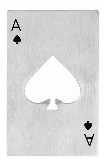 Destapador De Acero En Forma De As Naipe Baraja Poker