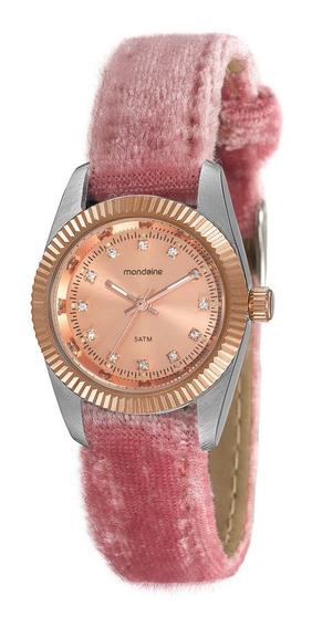 Relógio Feminino Prata E Rose Pulseira Veludo Molhado Rosa