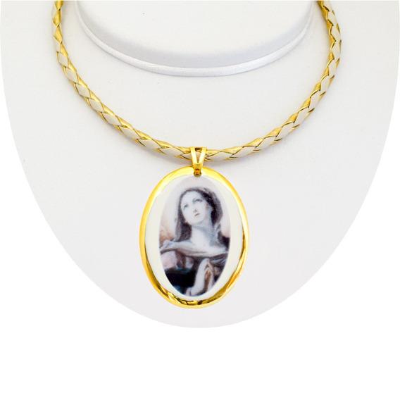 Medalha Nossa Senhora Das Dores Ouro Pequena E Corrente