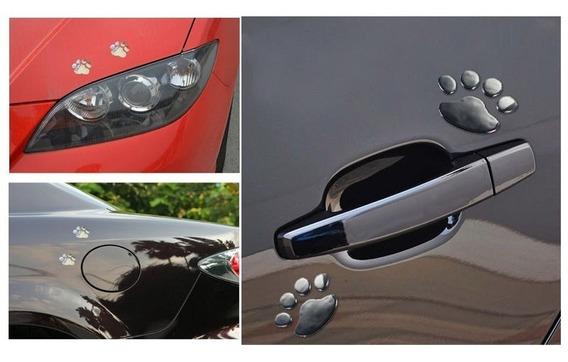 Adesivo Prata Cromado Pata 3d Carro Moto Notebook Fretegráts